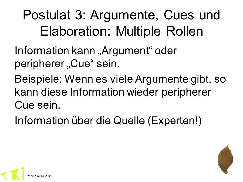 © Wandel.Drive 04 Postulat 3: Argumente, Cues und Elaboration: Multiple Rollen Information kann Argument oder peripherer Cue sein. Beispiele: Wenn es