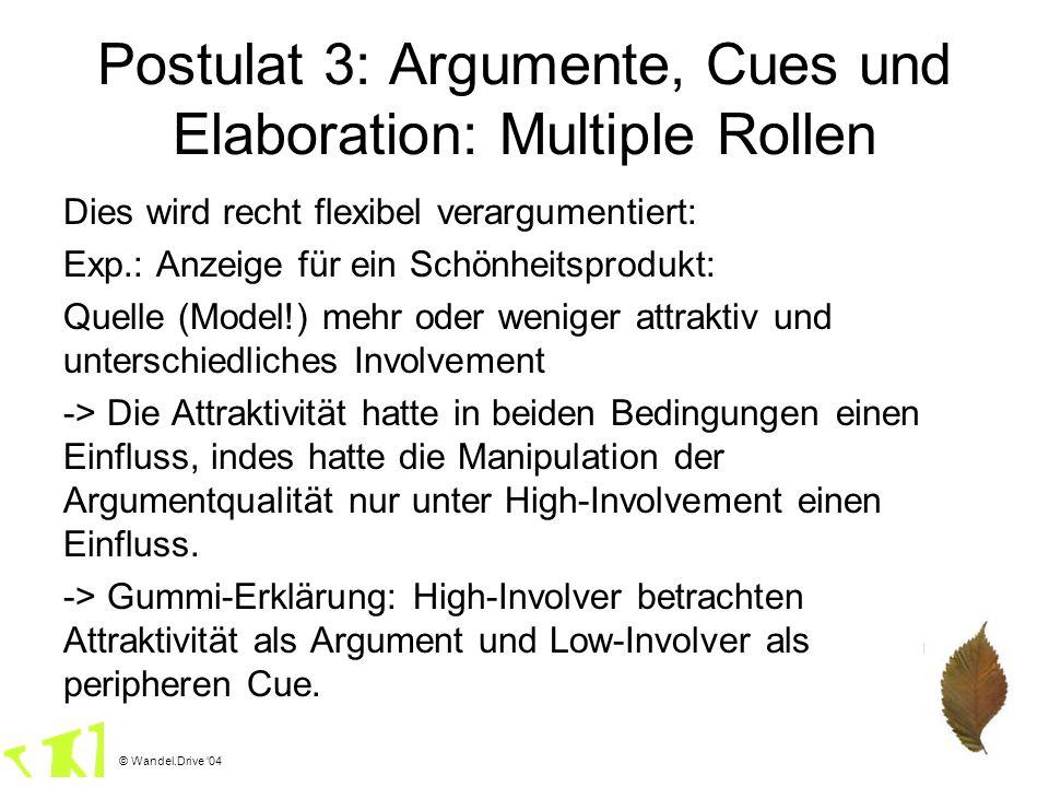 © Wandel.Drive 04 Postulat 3: Argumente, Cues und Elaboration: Multiple Rollen Dies wird recht flexibel verargumentiert: Exp.: Anzeige für ein Schönhe