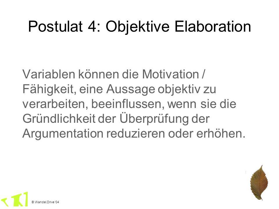 © Wandel.Drive 04 Postulat 4: Objektive Elaboration Variablen können die Motivation / Fähigkeit, eine Aussage objektiv zu verarbeiten, beeinflussen, w