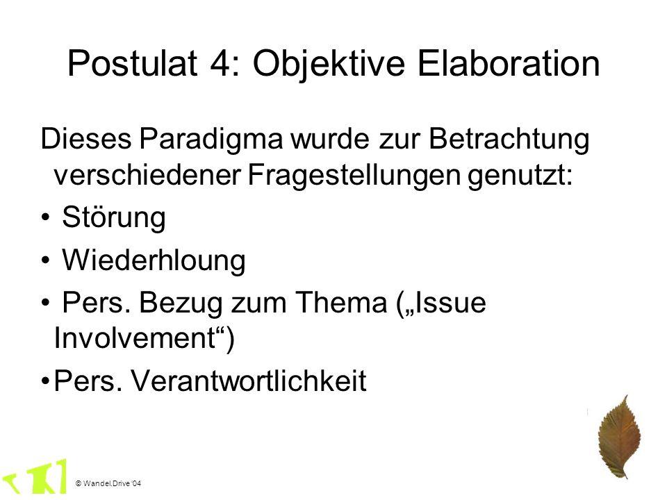 © Wandel.Drive 04 Postulat 4: Objektive Elaboration Dieses Paradigma wurde zur Betrachtung verschiedener Fragestellungen genutzt: Störung Wiederhloung