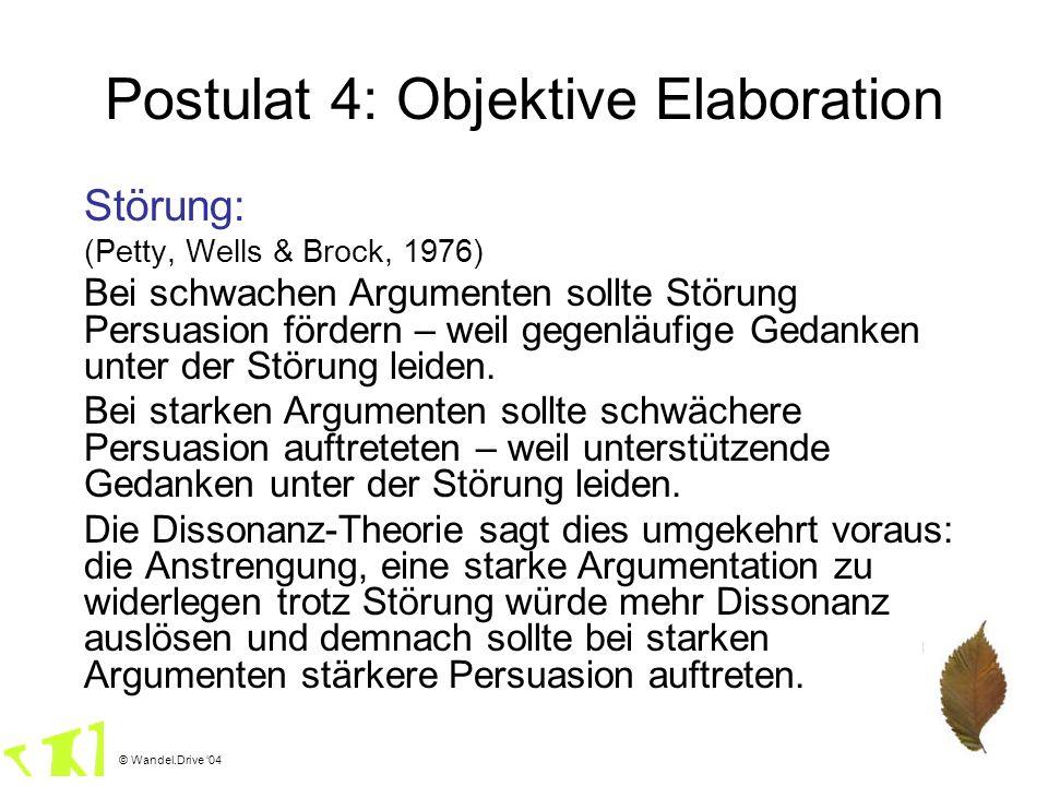 © Wandel.Drive 04 Postulat 4: Objektive Elaboration Störung: (Petty, Wells & Brock, 1976) Bei schwachen Argumenten sollte Störung Persuasion fördern –