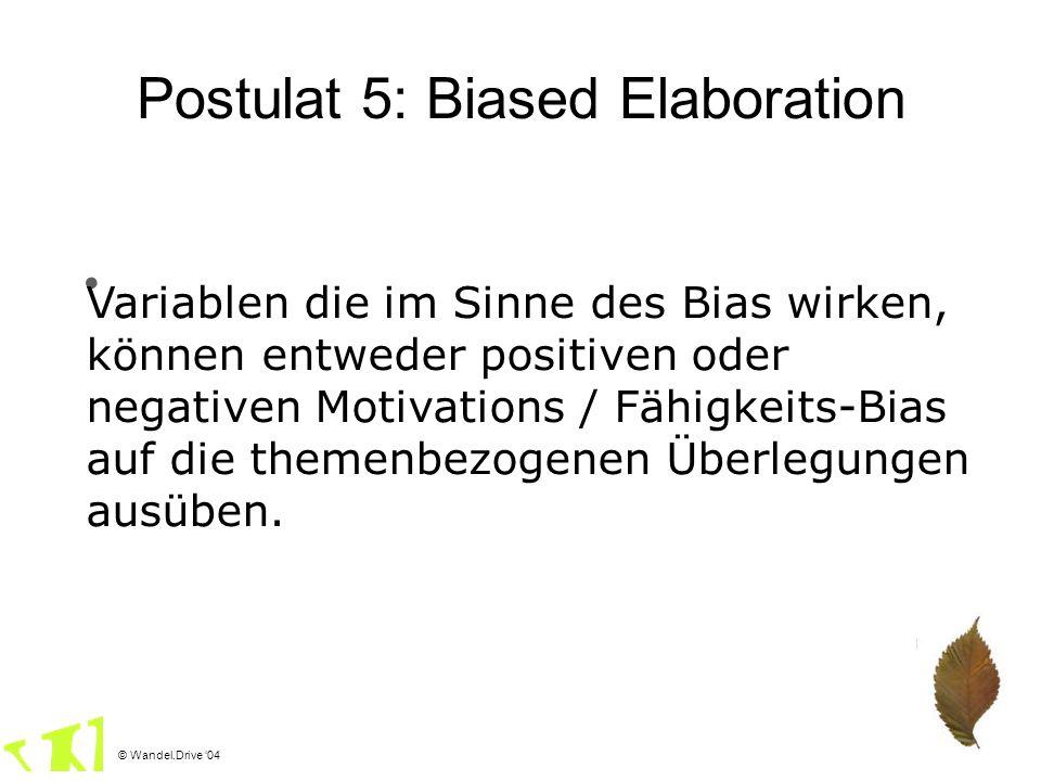 © Wandel.Drive 04 Postulat 5: Biased Elaboration Variablen die im Sinne des Bias wirken, können entweder positiven oder negativen Motivations / Fähigk