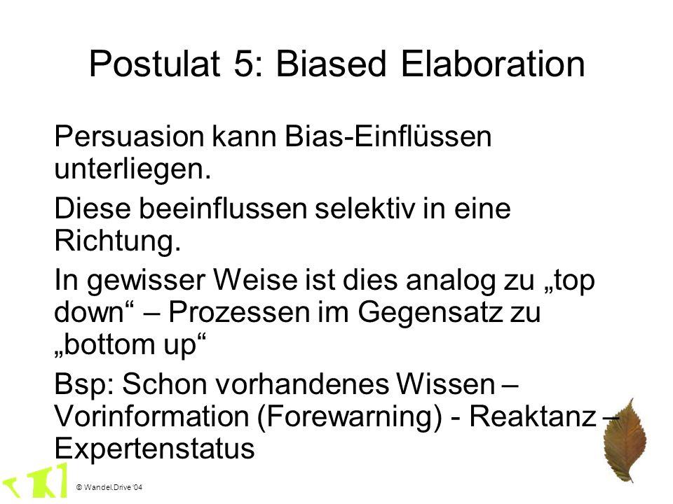 © Wandel.Drive 04 Postulat 5: Biased Elaboration Persuasion kann Bias-Einflüssen unterliegen. Diese beeinflussen selektiv in eine Richtung. In gewisse