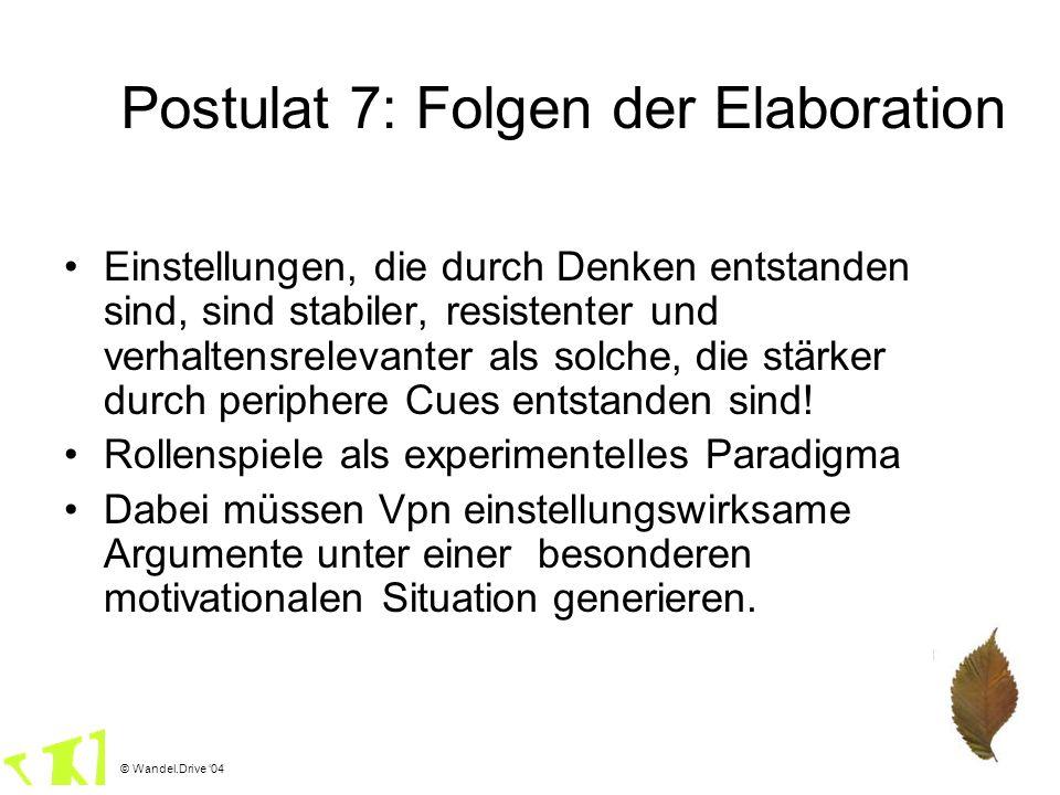 © Wandel.Drive 04 Postulat 7: Folgen der Elaboration Einstellungen, die durch Denken entstanden sind, sind stabiler, resistenter und verhaltensrelevan