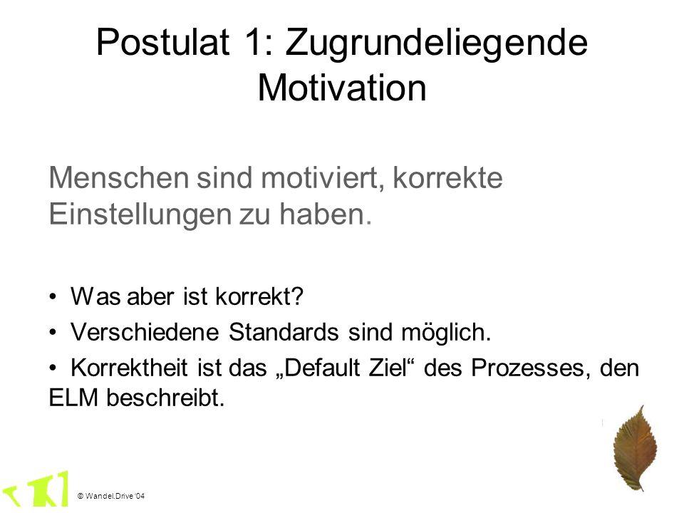 © Wandel.Drive 04 Postulat 1: Zugrundeliegende Motivation Menschen sind motiviert, korrekte Einstellungen zu haben. Was aber ist korrekt? Verschiedene