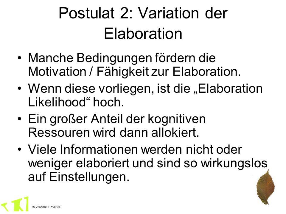 © Wandel.Drive 04 Manche Bedingungen fördern die Motivation / Fähigkeit zur Elaboration. Wenn diese vorliegen, ist die Elaboration Likelihood hoch. Ei