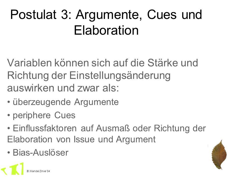 © Wandel.Drive 04 Postulat 3: Argumente, Cues und Elaboration Variablen können sich auf die Stärke und Richtung der Einstellungsänderung auswirken und
