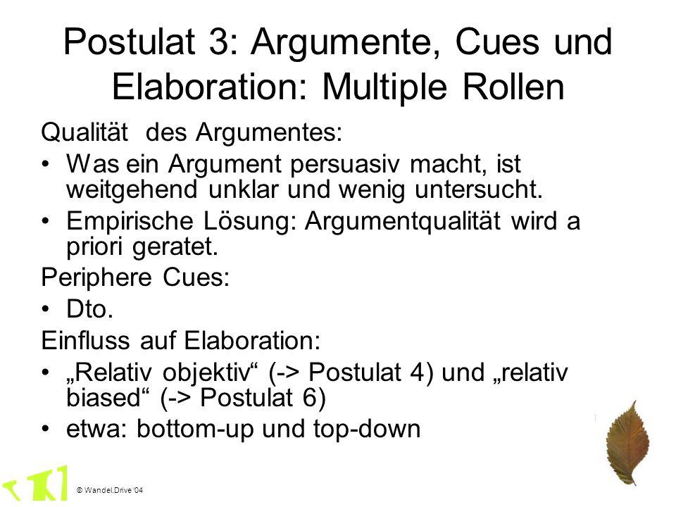 © Wandel.Drive 04 Postulat 3: Argumente, Cues und Elaboration: Multiple Rollen Qualität des Argumentes: Was ein Argument persuasiv macht, ist weitgehe