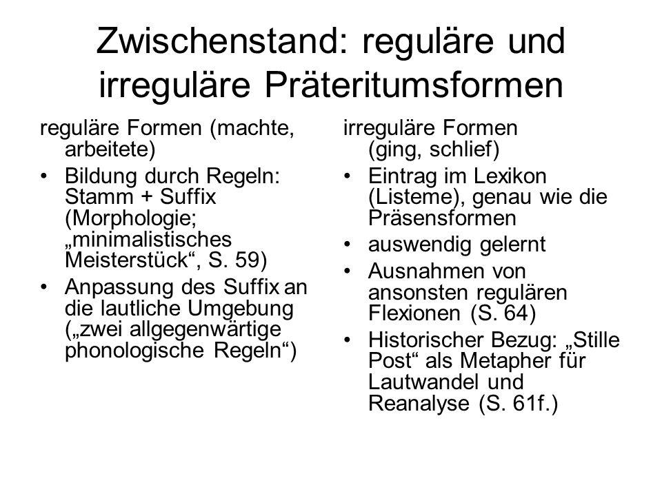 Zwischenstand: reguläre und irreguläre Präteritumsformen reguläre Formen (machte, arbeitete) Bildung durch Regeln: Stamm + Suffix (Morphologie; minima