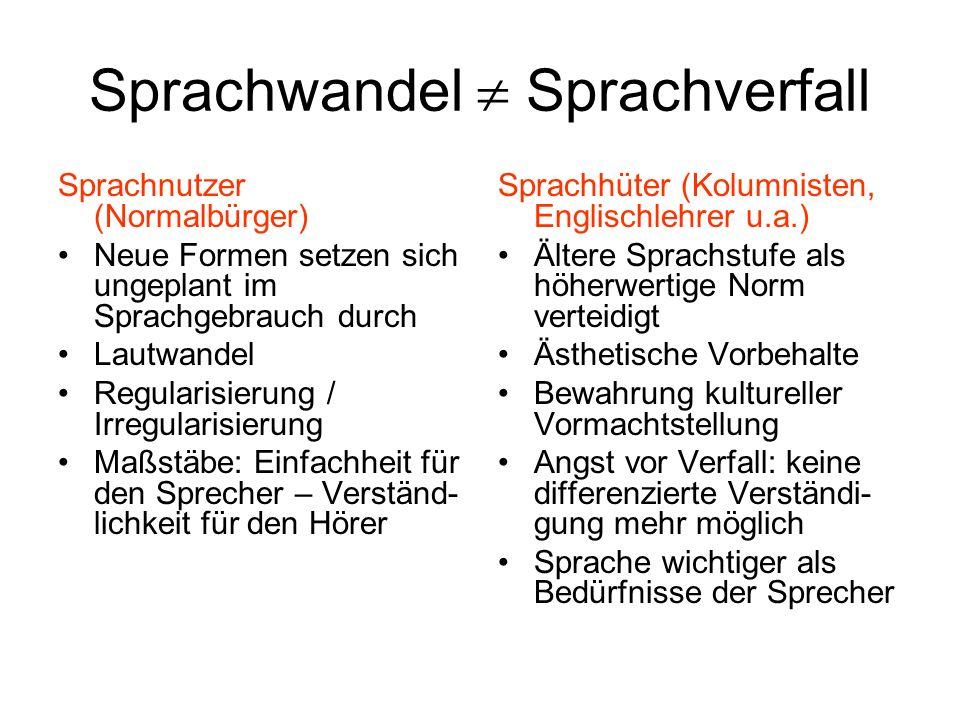 Sprachwandel Sprachverfall Sprachnutzer (Normalbürger) Neue Formen setzen sich ungeplant im Sprachgebrauch durch Lautwandel Regularisierung / Irregula