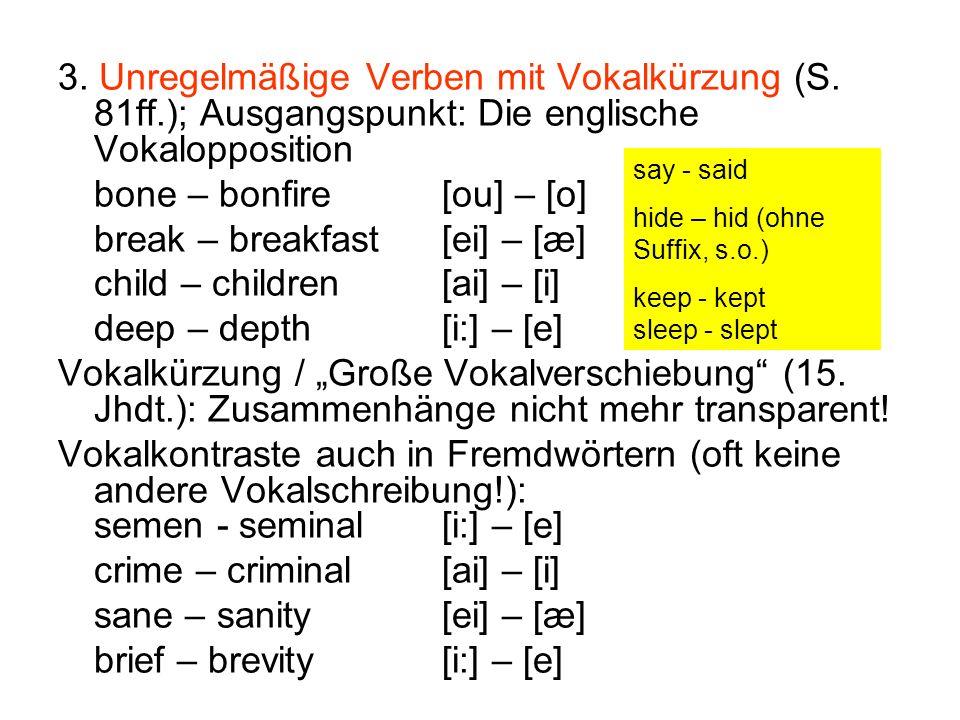 3. Unregelmäßige Verben mit Vokalkürzung (S. 81ff.); Ausgangspunkt: Die englische Vokalopposition bone – bonfire[ou] – [o] break – breakfast[ei] – [æ]