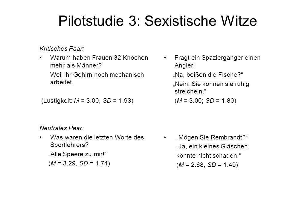 Pilotstudie 3: Sexistische Witze Kritisches Paar: Warum haben Frauen 32 Knochen mehr als Männer? Weil ihr Gehirn noch mechanisch arbeitet. (Lustigkeit