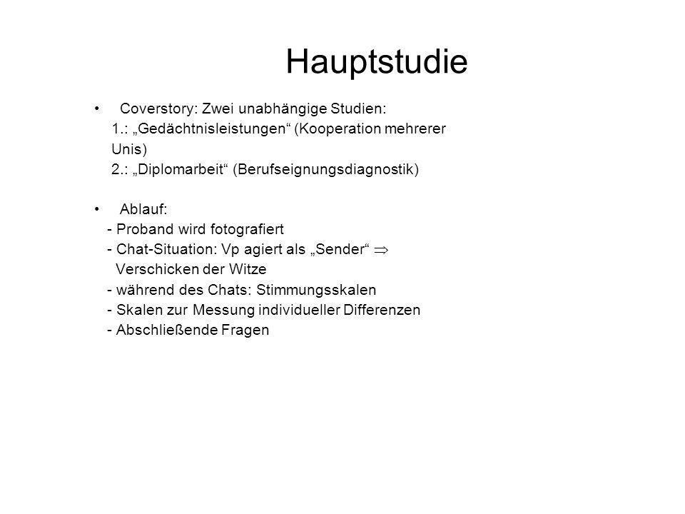 Hauptstudie Coverstory: Zwei unabhängige Studien: 1.: Gedächtnisleistungen (Kooperation mehrerer Unis) 2.: Diplomarbeit (Berufseignungsdiagnostik) Abl