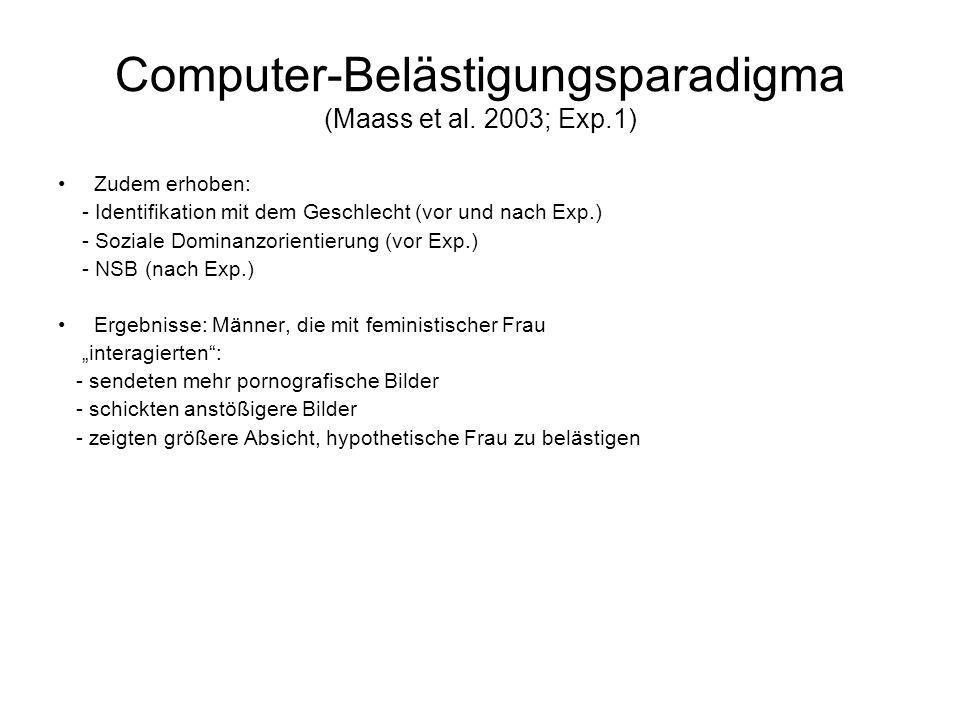 Computer-Belästigungsparadigma (Maass et al. 2003; Exp.1) Zudem erhoben: - Identifikation mit dem Geschlecht (vor und nach Exp.) - Soziale Dominanzori