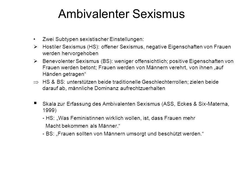 Ambivalenter Sexismus Zwei Subtypen sexistischer Einstellungen: Hostiler Sexismus (HS): offener Sexismus, negative Eigenschaften von Frauen werden her