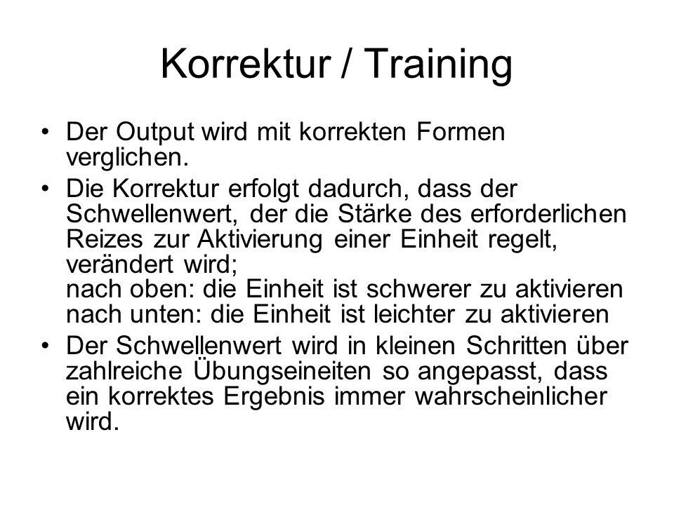 Korrektur / Training Der Output wird mit korrekten Formen verglichen. Die Korrektur erfolgt dadurch, dass der Schwellenwert, der die Stärke des erford
