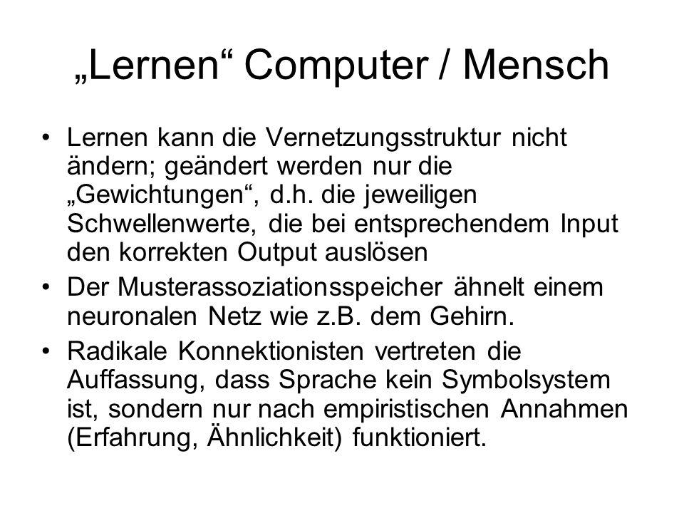 Lernen Computer / Mensch Lernen kann die Vernetzungsstruktur nicht ändern; geändert werden nur die Gewichtungen, d.h. die jeweiligen Schwellenwerte, d