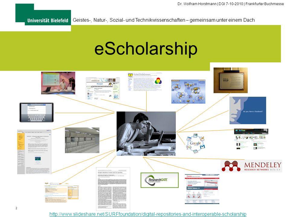 2 Geistes-, Natur-, Sozial- und Technikwissenschaften – gemeinsam unter einem Dach Dr. Wolfram Horstmann | DGI 7-10-2010 | Frankfurter Buchmesse eScho
