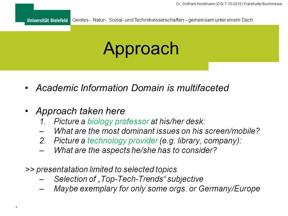 4 Geistes-, Natur-, Sozial- und Technikwissenschaften – gemeinsam unter einem Dach Dr. Wolfram Horstmann | DGI 7-10-2010 | Frankfurter Buchmesse Appro