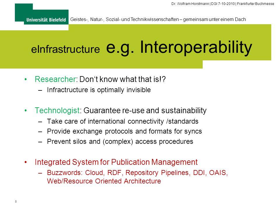 8 Geistes-, Natur-, Sozial- und Technikwissenschaften – gemeinsam unter einem Dach Dr. Wolfram Horstmann | DGI 7-10-2010 | Frankfurter Buchmesse eInfr