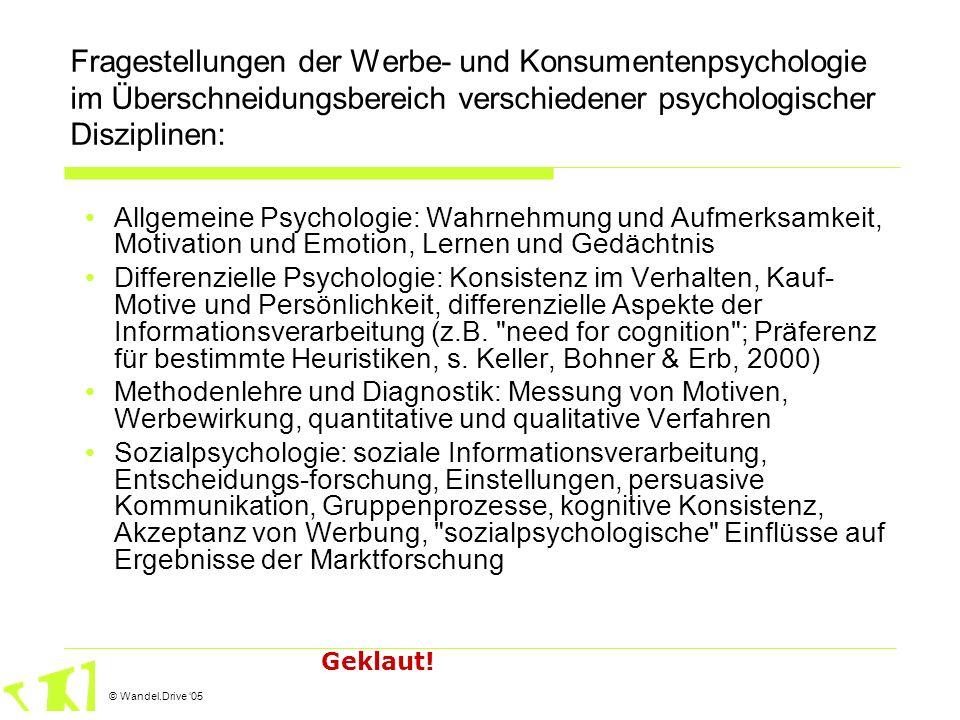 © Wandel.Drive 05 Fragestellungen der Werbe- und Konsumentenpsychologie im Überschneidungsbereich verschiedener psychologischer Disziplinen: Allgemein