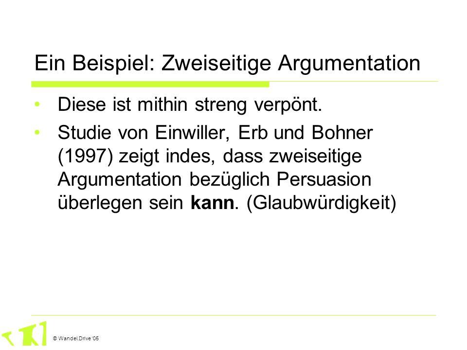 © Wandel.Drive 05 Ein Beispiel: Zweiseitige Argumentation Diese ist mithin streng verpönt. Studie von Einwiller, Erb und Bohner (1997) zeigt indes, da