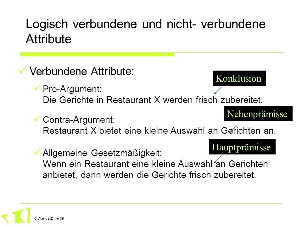 © Wandel.Drive 05 Logisch verbundene und nicht- verbundene Attribute Verbundene Attribute: Pro-Argument: Die Gerichte in Restaurant X werden frisch zu