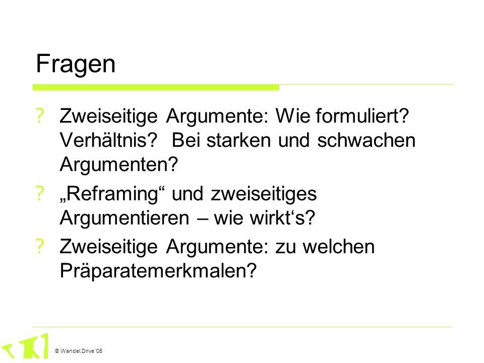 © Wandel.Drive 05 Fragen ? Zweiseitige Argumente: Wie formuliert? Verhältnis? Bei starken und schwachen Argumenten? ? Reframing und zweiseitiges Argum