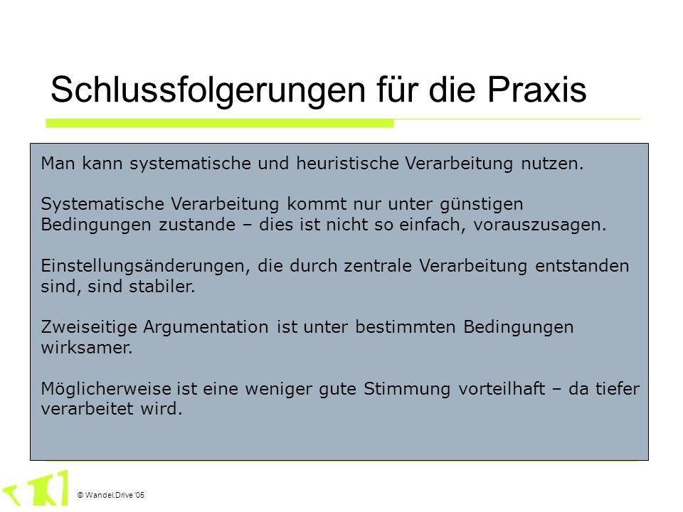 © Wandel.Drive 05 Schlussfolgerungen für die Praxis Man kann systematische und heuristische Verarbeitung nutzen. Systematische Verarbeitung kommt nur