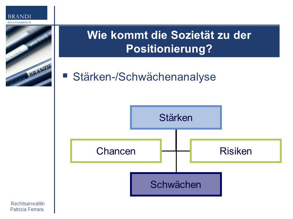 Rechtsanwältin Patrizia Ferrara Wie kommt die Sozietät zu der Positionierung? Stärken-/Schwächenanalyse Stärken Schwächen ChancenRisiken