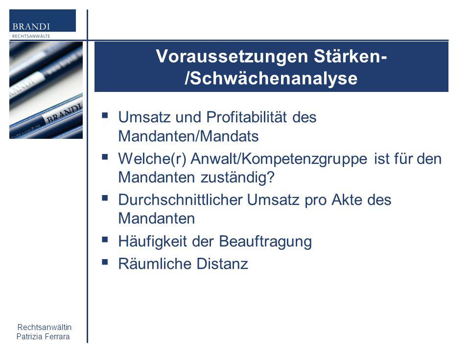 Rechtsanwältin Patrizia Ferrara Voraussetzungen Stärken- /Schwächenanalyse Umsatz und Profitabilität des Mandanten/Mandats Welche(r) Anwalt/Kompetenzg
