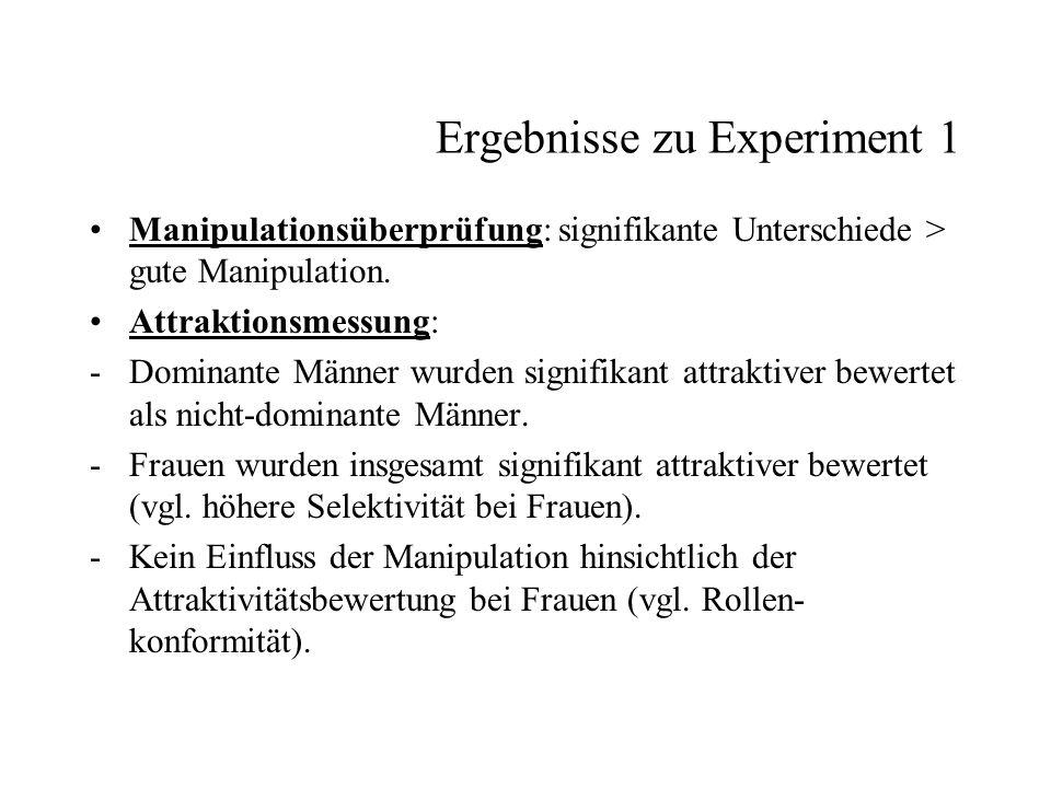 Ergebnisse zu Experiment 1 Manipulationsüberprüfung: signifikante Unterschiede > gute Manipulation. Attraktionsmessung: -Dominante Männer wurden signi