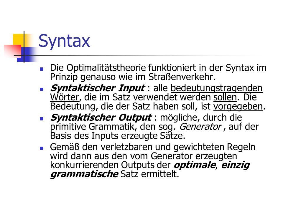 Syntax Die Optimalitätstheorie funktioniert in der Syntax im Prinzip genauso wie im Straßenverkehr.