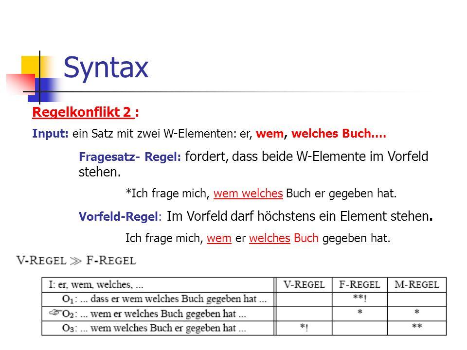 Syntax Regelkonflikt 2 : Input: ein Satz mit zwei W-Elementen: er, wem, welches Buch....
