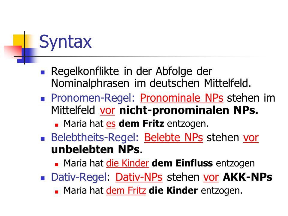 Syntax Regelkonflikte in der Abfolge der Nominalphrasen im deutschen Mittelfeld.