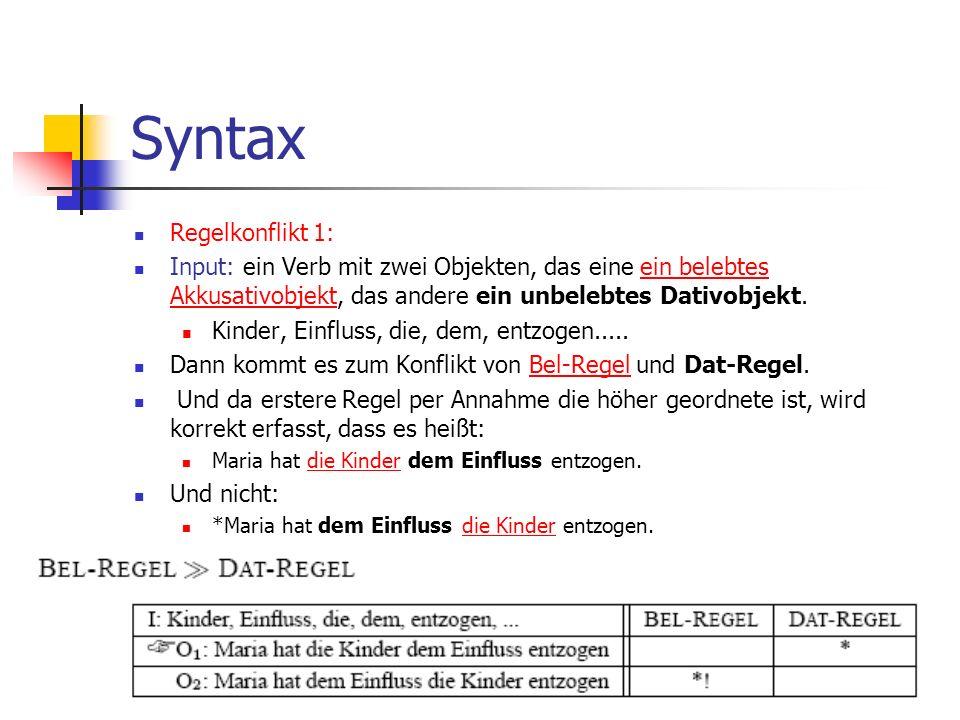 Syntax Regelkonflikt 1: Input: ein Verb mit zwei Objekten, das eine ein belebtes Akkusativobjekt, das andere ein unbelebtes Dativobjekt.