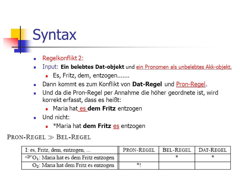 Syntax Regelkonflikt 2: Input: Ein belebtes Dat-objekt und ein Pronomen als unbelebtes Akk-objekt.