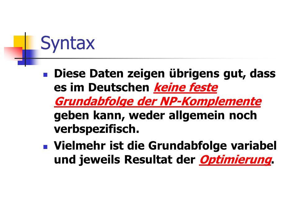 Syntax Diese Daten zeigen übrigens gut, dass es im Deutschen keine feste Grundabfolge der NP-Komplemente geben kann, weder allgemein noch verbspezifisch.