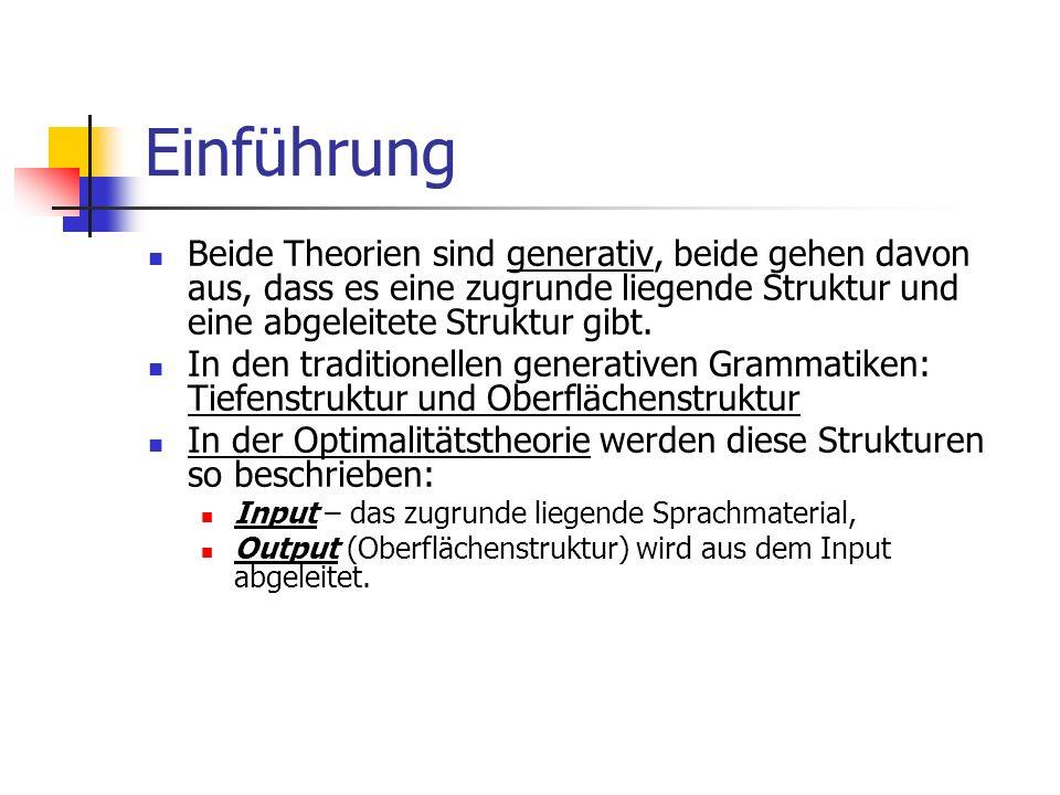 Einführung Beide Theorien sind generativ, beide gehen davon aus, dass es eine zugrunde liegende Struktur und eine abgeleitete Struktur gibt.