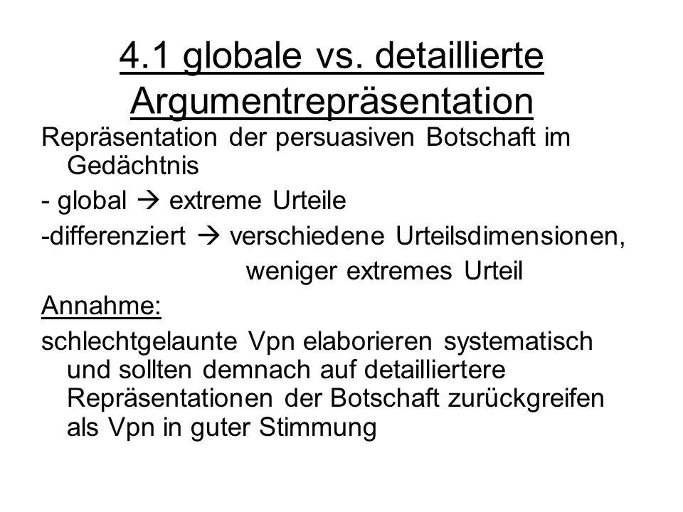 4.1 globale vs. detaillierte Argumentrepräsentation Repräsentation der persuasiven Botschaft im Gedächtnis - global extreme Urteile -differenziert ver