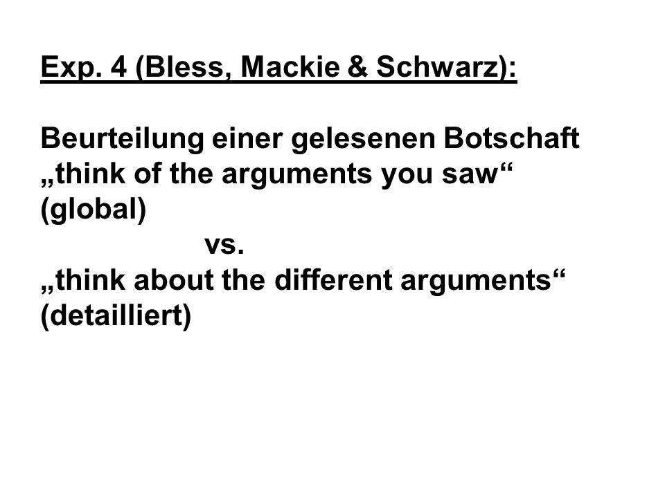 Exp. 4 (Bless, Mackie & Schwarz): Beurteilung einer gelesenen Botschaft think of the arguments you saw (global) vs. think about the different argument