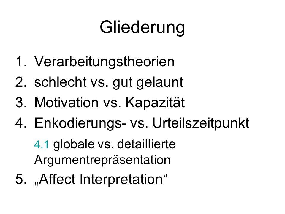 Gliederung 1.Verarbeitungstheorien 2.schlecht vs. gut gelaunt 3.Motivation vs. Kapazität 4.Enkodierungs- vs. Urteilszeitpunkt 4.1 globale vs. detailli