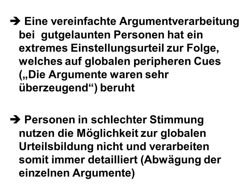 Eine vereinfachte Argumentverarbeitung bei gutgelaunten Personen hat ein extremes Einstellungsurteil zur Folge, welches auf globalen peripheren Cues (