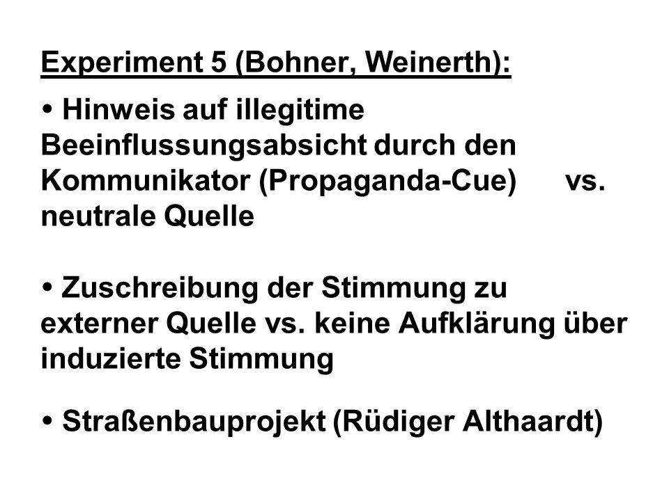Experiment 5 (Bohner, Weinerth): Hinweis auf illegitime Beeinflussungsabsicht durch den Kommunikator (Propaganda-Cue) vs. neutrale Quelle Zuschreibung