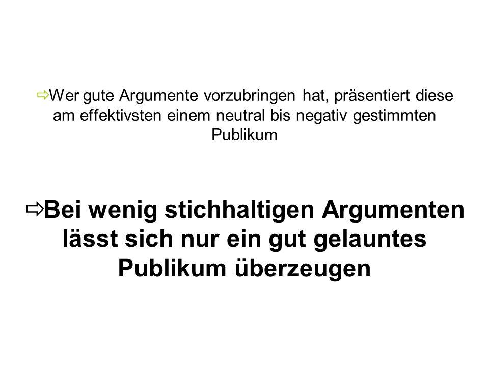 Wer gute Argumente vorzubringen hat, präsentiert diese am effektivsten einem neutral bis negativ gestimmten Publikum Bei wenig stichhaltigen Argumente