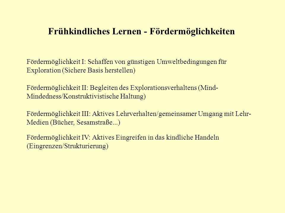 Frühkindliches Lernen - Fördermöglichkeiten Fördermöglichkeit I: Schaffen von günstigen Umweltbedingungen für Exploration (Sichere Basis herstellen) F