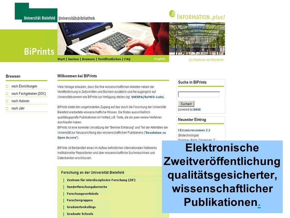 14 BiPrints Qualitätsgeprüfte Publikationen im Volltext plus bibliographische Angaben Ca.
