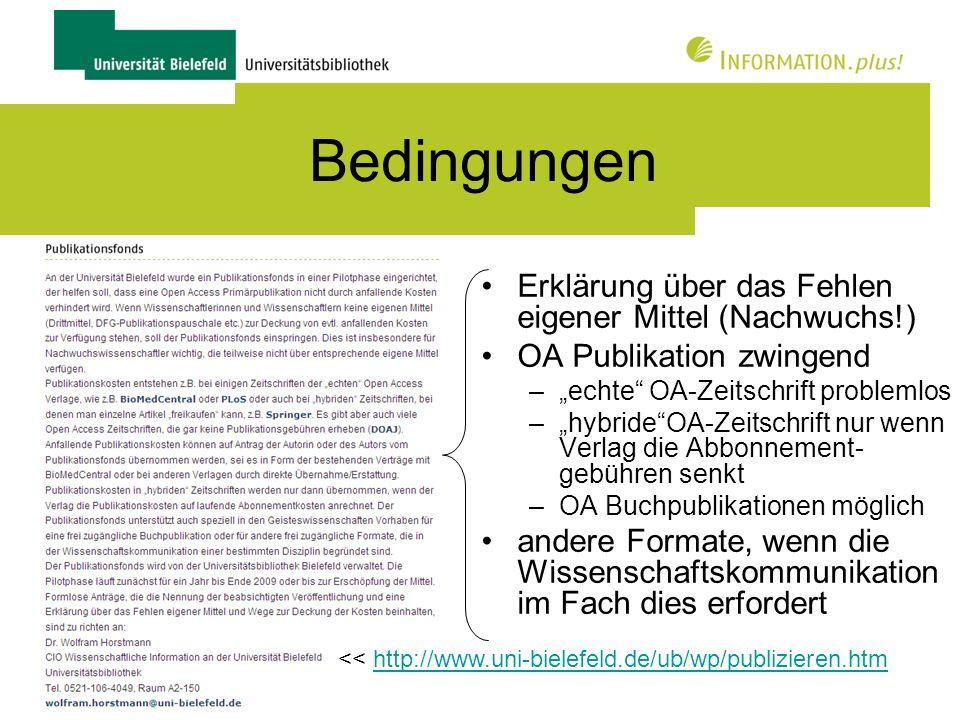 24 Verfahren Kostenfrage bei Publikations- vorbereitung Erstkontakt / Beratung Anfrage (Antrag, z.B.