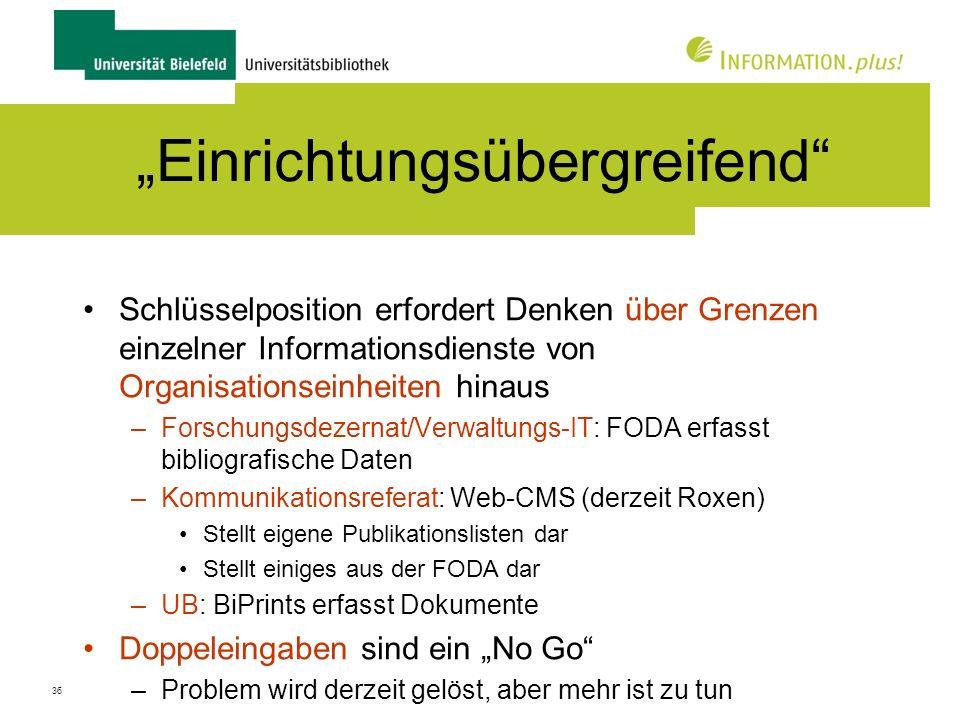 37 Einbettung außerhalb der Uni Kooperation Deutschland: PUMA, PubMan etc.
