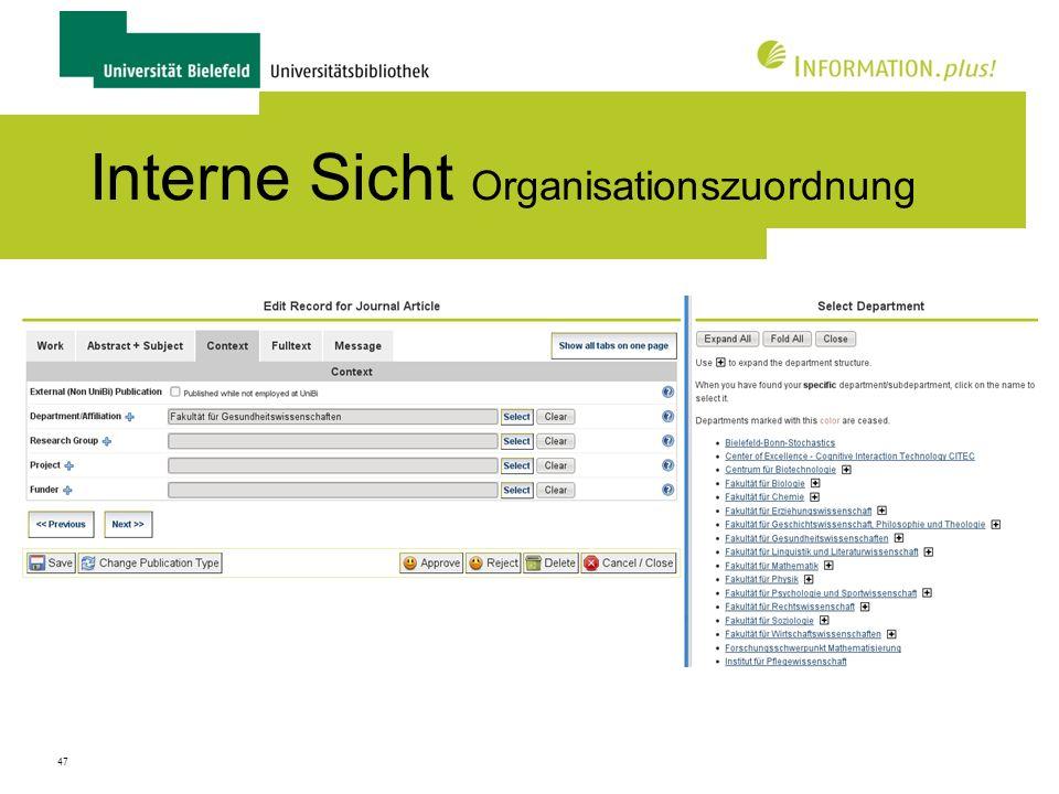 47 Interne Sicht Organisationszuordnung